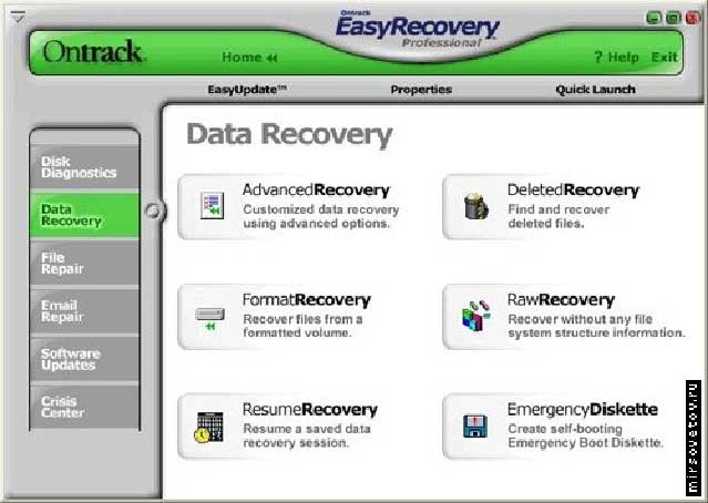 Окно Data Recovery