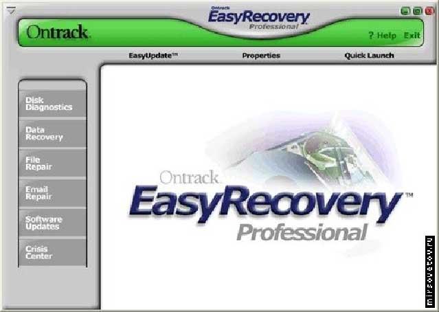 Окно Easy Recovery